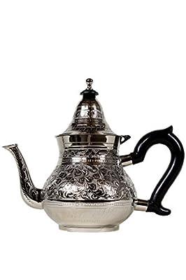 Théière marocaine en laiton Abidin 0,1l avec filtre | cafetière orientale avec couvercle et poignée en plastique | Décoration de Salon de Maison en Design indien marocain