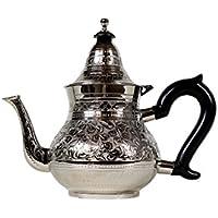 Tetera de Plata marroquí Hecha de latón Abidin 1000 ml | Cafetera Oriental con Mango y