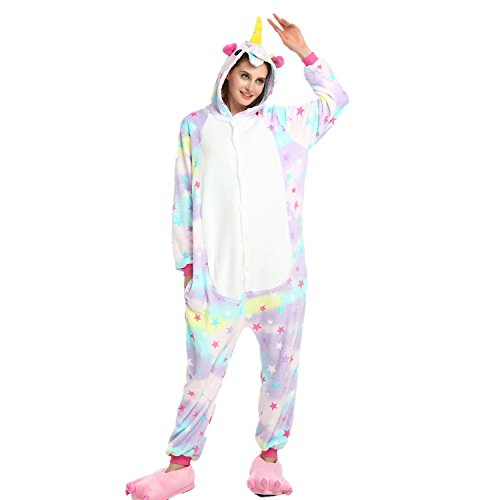 Imagen de mystery&melody unicornio pijamas cosplay unicorn disfraces animales franela monos unisex adulto ropa de dormir disfraces de fiesta m, estrella