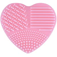 Hard Bone Limpiador de Pinceles de Maquillaje Corazón Diseño Silicona cosmético Limpia Herramientas 8x8.5x2.5cm Rosa