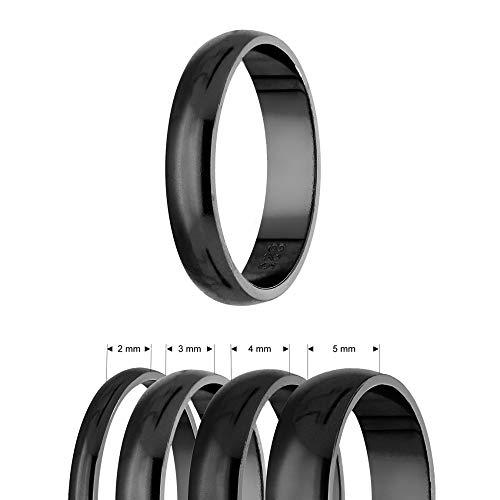 Ring - 925 Silber - Glänzend - 4 Breiten - Schwarz [01.] - Breite: 2mm - Ringgröße: 48