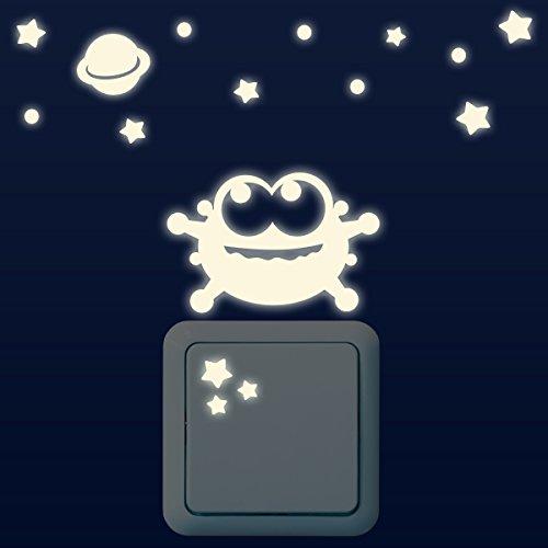 Wandkings Leuchtaufkleber für Lichtschalter / Alien, Planet, Sterne, Punkte im 16-er Set / im Dunkeln leuchtend