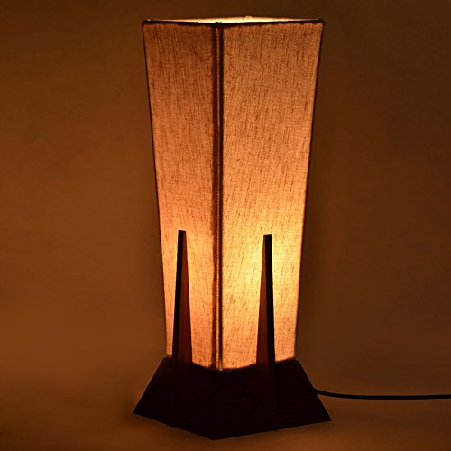 ExclusiveLane 14Inch Pyramid Decorative Table Lamp In Sheesham Wood - Gift Item Night Lamp