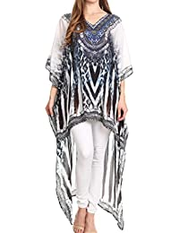 Sakkas Laisson Flowy Hi Low Caftan Rhinestone Boxy V Neck Dress Top Cover/Up