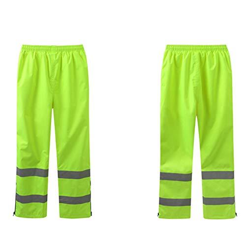 Pantalones Reflectantes de Alta Visibilidad Ropa de Trabajo Pantalones Impermeables Pantalones de Seguridad para Montar en el Jardín Fluorescente Amarillo M-3XL,L