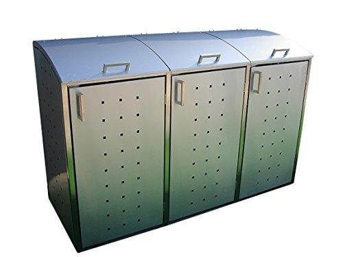 Mülltonnenbox für drei 240 Liter Mülltonnen, Modell Milbo aus Edelstahl