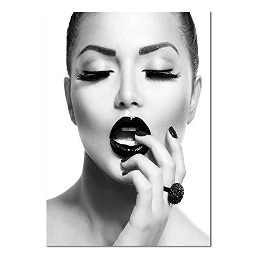 SUNNYFOR Rahmenlose Malerei Schwarz Lippen Mode Mädchen Leinwand Kunst Poster Und Drucke Skandinavische Malerei Wandbild Für Wohnzimmer Moderne Dekoration -