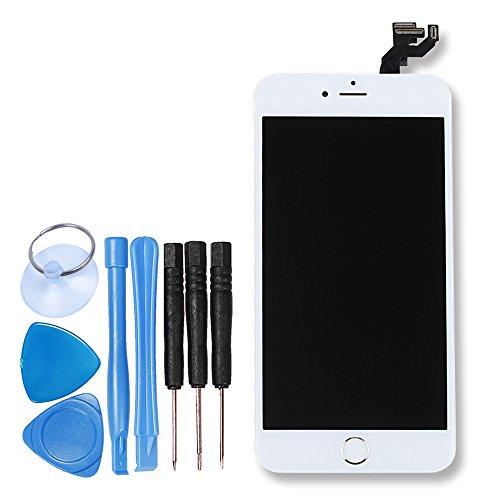 LL TRADER LCD Display Touchscreen Ersatzbildschirm Reparatur im Komplettset Weiß für iPhone 6S Plus mit Werkzeug (inklusive Home Buton ,sensor flexkabel, Front Kamera)