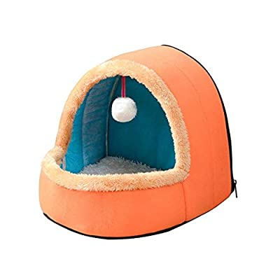 hhagg Pet Dog Cat Bed Puppy House with Toy Ball Warm Soft Pet Cushion Dog Kennel Cat Castle For Drop Shipping S Orange from hhagg