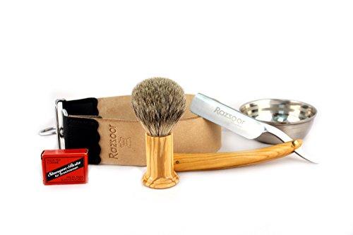 RAZZOOR 5-teiliges Rasiermesser Set Olivenholz- Exklusives Rasiermesser Set mit rostfreier Edelstahl-Klinge - Streichriemen aus echtem Büffelleder, Streichriemenpaste aus Solingen, Rasierpinsel Silberspitz Dachshaar