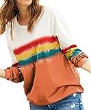 DEMO SHOW Damen Sweatshirts Langarm Rundhals Tunika Blusen Batik T Shirts Pullover Tops (Orange, XL)
