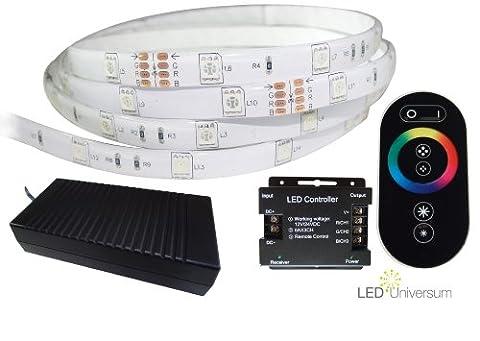 10 Meter AM STÜCK mit Funkfernbedienung: professionelle RGB LED Stripe Band Streifen (30 LED/m, IP65, 24V), Controller und 3A