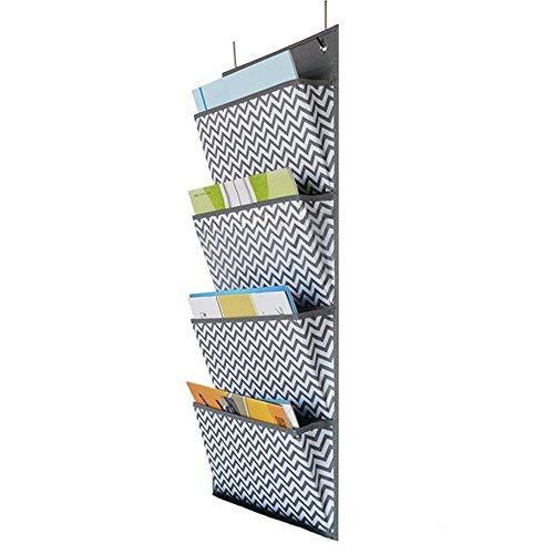 Organizer zum Aufhängen an der Tür, robust, Ordner im A4-Format für Dokumente, Aufbewahrungstaschen aus Stoff, Halter für die Wandmontage, Taschen-Diagramm für Schule, Büro, zu Hause, 4Taschen