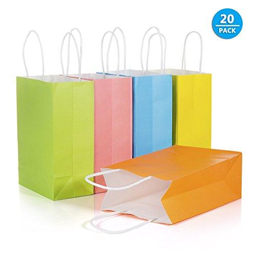 Klein, [20 Stück] 21 x 8X 15 cm Kraftpapier mit Henkel, Kraft Tüten, Mitgebsel Tüten, Geschenktüte für Partys, Hochzeiten, Feiern, Geschenktüten und Süßigkeiten ()