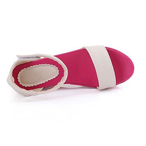 VogueZone009 Femme Matière Souple Velcro Ouverture D'Orteil à Talon Haut Couleur Unie Sandales Rouge