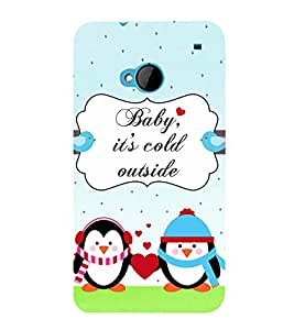 Fiobs Designer Back Case Cover for HTC M7 :: HTC One M7 (Penguins Love Heart Cold Baby Thandi Antarctis Pyar)