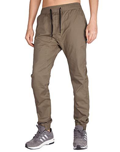 ITALY MORN Pantalón para Hombre Casual Chino Jogging Algodón Slim Fit 20 Colores (XL, Madera Caqui)