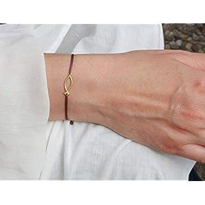 SCHOSCHON Damen Armband ICHTHYS Fisch-Symbol 925 Silber vergoldet Braun-Gold | Kommunion Firmung Konfirmation Schmuck Christusfisch Geschenk