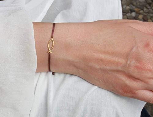 SCHOSCHON Damen Armband ICHTHYS Fisch-Symbol 925 Silber vergoldet Braun-Gold // Geschenk Ideen Kommunion Firmung Konfirmation Schmuck Christusfisch