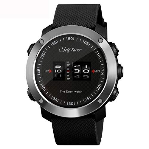 Jiameng orologi da polso sportivo, orologio sportivo da uomo cinturino in pelle da uomo con cinturino in gomma (nero)