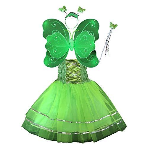 TGP Schmetterling Kostüm für Mädchen - 4-teiliges Set - Feenflügel/Schmetterlingsflügel Verkleiden (Grün)