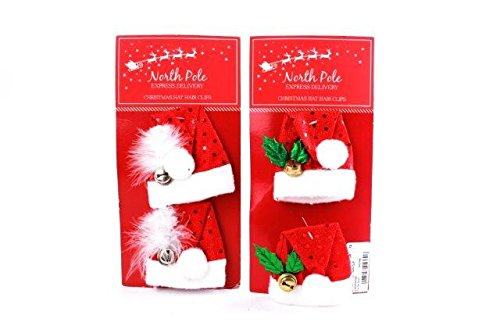 Packung 2 x Weihnachten Mini Santa Hut Haarklammern festlich Kostüm Party ()