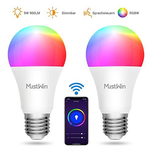 MustWin Smart Lampen Alexa Glühbirne 9W WLAN LED Lampe E27 RGBW Birne 900LM Dimmbar durch APP Fernbedienung mit Timing, Kompatibel mit Alexa Google Home IFTTT Warmweiß (2 Stück)