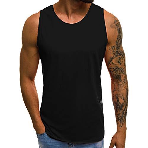 Loveso Herren Tanktop Basic Unifarben Tank Top Tankshirt T-Shirt Unterhemden Ärmellos Muskelshirt Sport