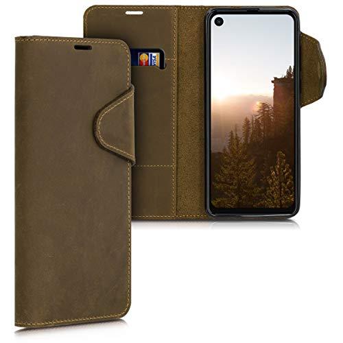 kalibri Motorola One Vision Hülle - Leder Handyhülle für Motorola One Vision - Handy Wallet Case Cover