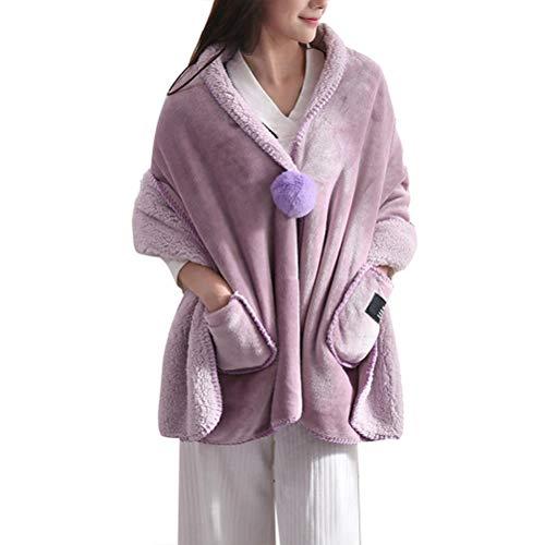 Zhhlaixing Tragbare Decke mit Langen Ärmeln und Taschen Wickeldecke Gemütlich Super Weichem Plüsch Fleece Stoff Wohnaccessoire Sherpa warme Decken für Erwachsene Frauen Männer Kind -