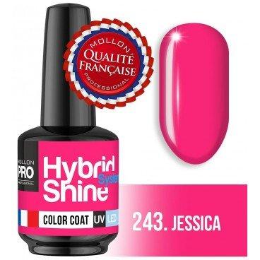 Mini-Lack Semi-Permanent Glanz Mollon Hybrid Pro 8 ml (für Farbe) 243 Jessica Jessica Mini