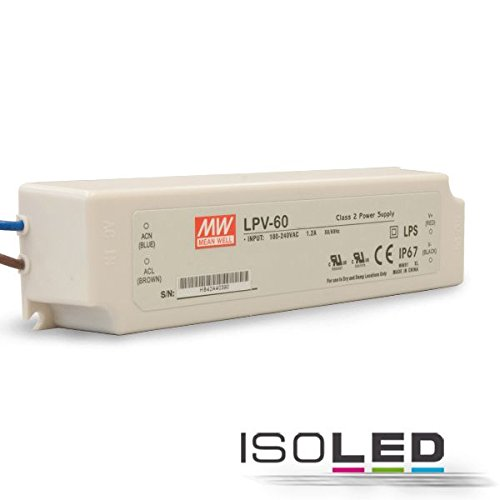60w 12v Wechselstrom-transformator (MeanWell LPV-60-12 LED Treiber LED Netzteil 60 W 12 V/DC 0 - 5 A LED Stromversorgung Festspannung)