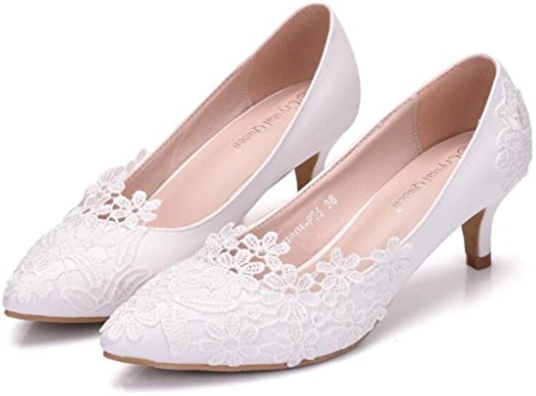 GAOLIXIA Damen High Heels Spitze Blume Hochzeit Schuhe Damen Adult Geschenk Schuhe Komfort Sandalen