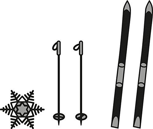 Marianne Design Craftables Stanzform Skier und Schneeflocke - Cutting Die Die, Steel, grau, 15 x 12.5 x 2.7 cm -
