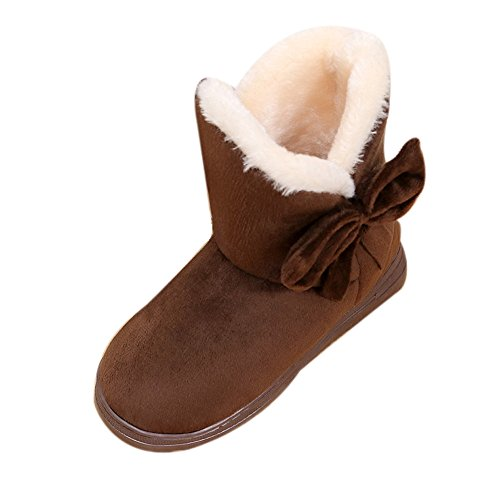YWLINK Basis Bowknot Schneestiefel Warm Futter Frauen Flats Schuhe Herbst Winter Schuh Ankle Booties(38-39 EU,Kaffee)