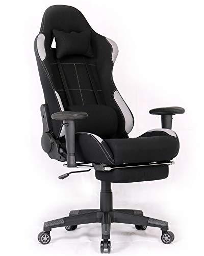 Ergonomischer Gaming-Stuhl im Renn-Stil, Bürostuhl, mit hoher Rückenlehne, Stoff, höhenverstellbar, Gaming-Bürostuhl mit Massage und Fußstütze Black/Grey,footrest