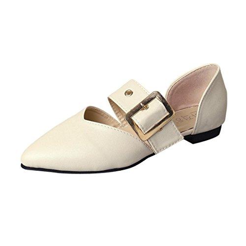 S&H-NEEDRA Frauen Flache Ferse Flacher Mund Reine Farbe Schnalle Freizeitschuhe Schuhe