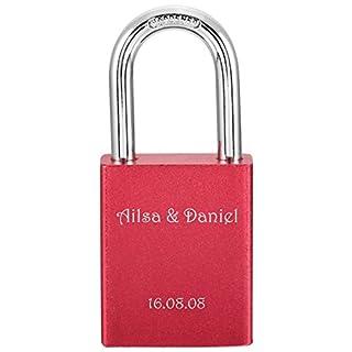 MeMeDIY Red Aluminum Padlock Lock Key Love - Customized Engraving