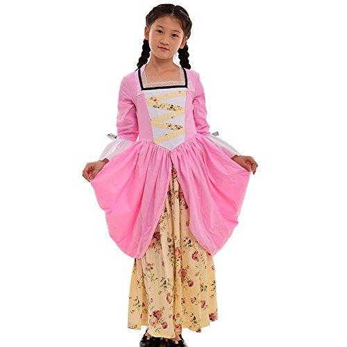 Kostüm Kolonialen - GRACEART Pionier Pilger Mädchen Kolonialen Kinder Kostüm (US-12, Rosa)
