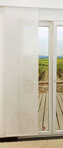 LYSEL Schiebegardine Target transparent mit Kreisen in den Maßen 245 cm x 60 cm weiß/reinweiß