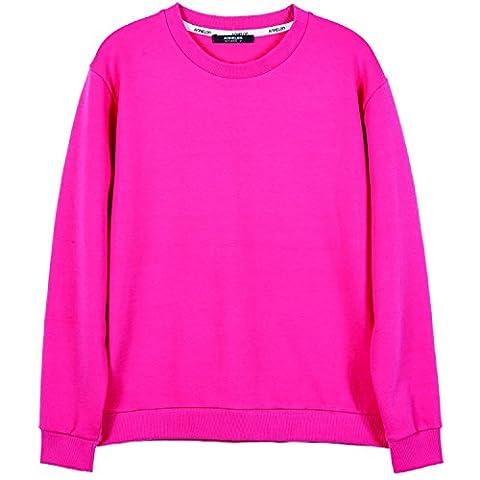 ililily Men Cotton Solid Color Simple Crew Neck Spring Pullover