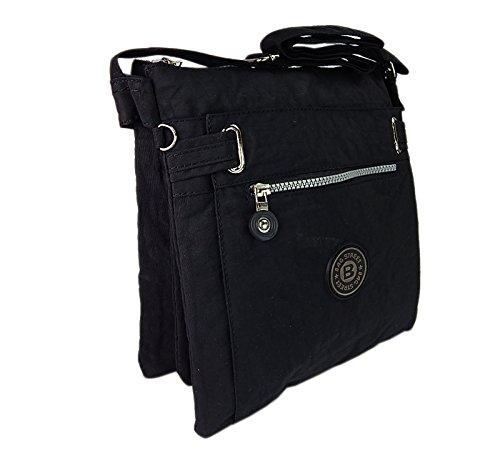 Sportliche Damentasche Modische UMHÄNGETASCHE Handtasche Crinkle Nylon Tasche Schwarz Black (Nylon Handtasche Crinkle)