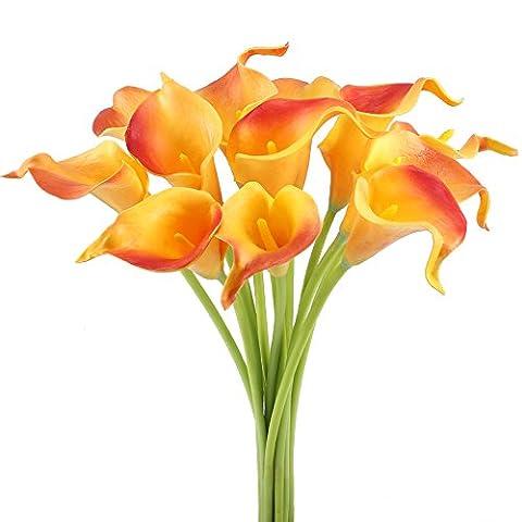 MIHOUNION 12 Pcs Artificial Calla Lilies Fleurs Naturel Orange Fake Flowers Shabby Chic pour maison Table de mariage Cuisine Grave Décorations de Pâques