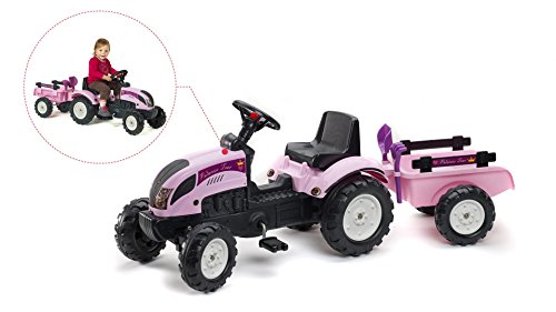 Falk erster Traktor für Mädchen Trettraktor Princess pink mit Anhänger