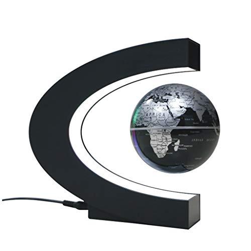 Matly Magnetschwebebahn Floating Globe Led Lights BüRo Dekorationen,Geografie Bildungs Kinderspielzeug Geschenk für Kind (C-Form),Black