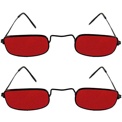 2 Vampirbrillen Brille Vampir Unisexbrille Kunststoff rote Gläser ohne Stärke Kunststoffgläser
