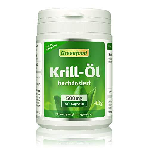 Greenfood Krillöl, 500 mg, 60 Kapseln, hochdosiert – für ein gesundes Herz, Augen und Gedächtnis.