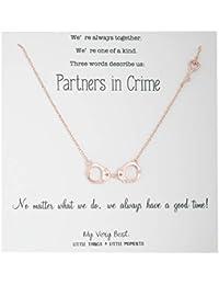 85aef1207561 My Very Best De las Mujeres Partners in Crime Esposas BFF Collar de Oro  Rosa de