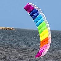 Candybush Power Kite, 2 Line Sports Parafoil Kite Parachute, Outdoor Beach Soft Surf Kite Fun Toys, 2.7m - Color del Arco Iris