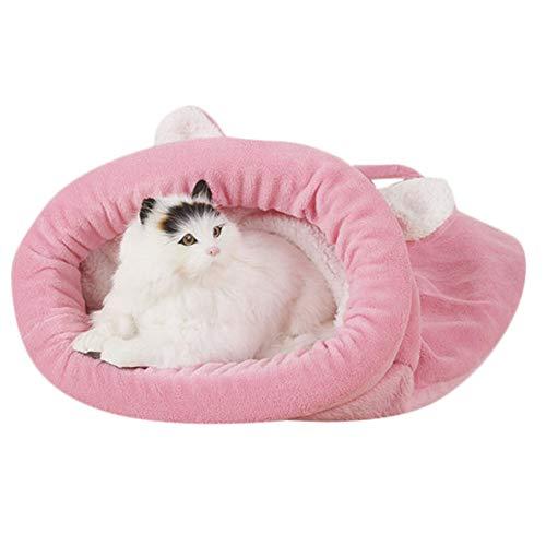 (ODJOY-FAN Zwinger Katzen Hunde Baumwollnest Herbst Winter Zwinger Schlafsack Haustier Bett Hündchen Warm Höhle Weich Hund Haus Schlafen Tasche Matte Decken(Rosa,L))